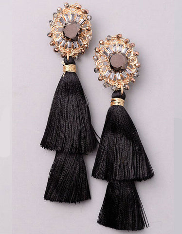 Valencia Tassel Earrings in Black