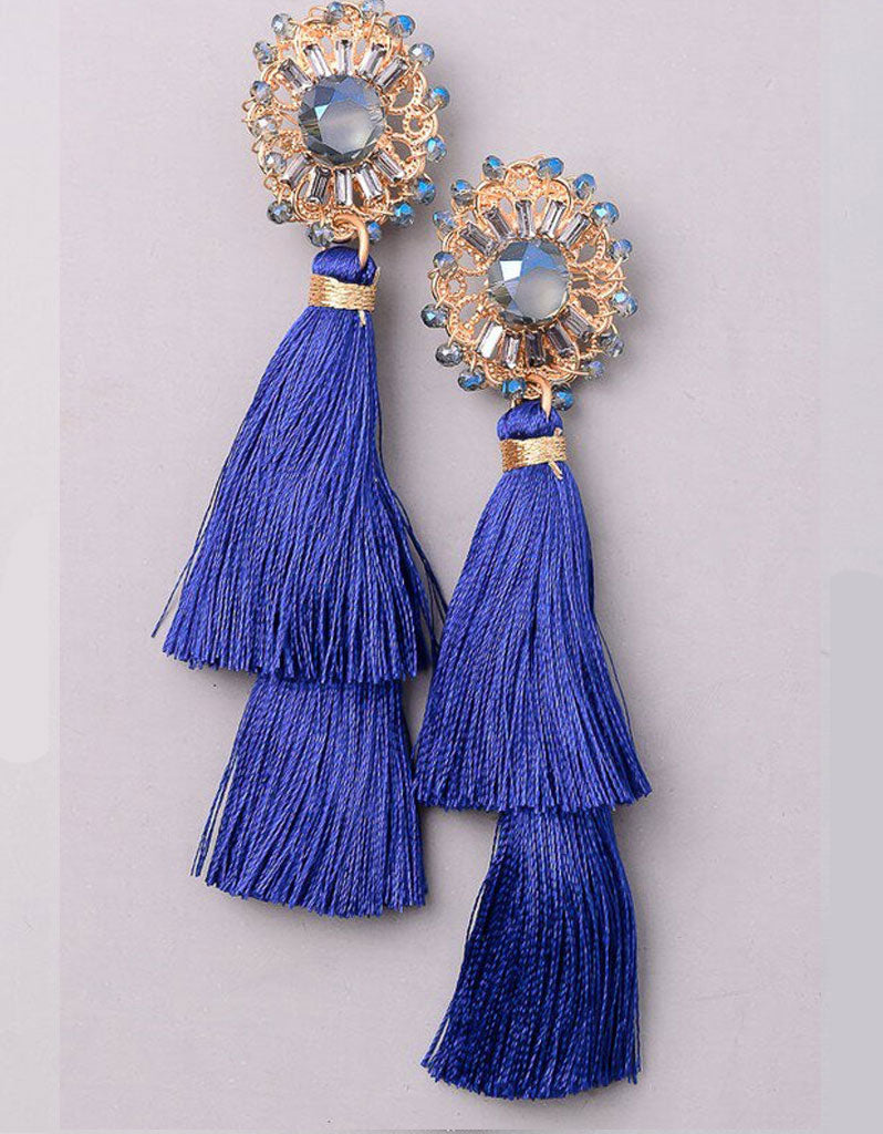Valencia Tassel Earrings in Royal Blue