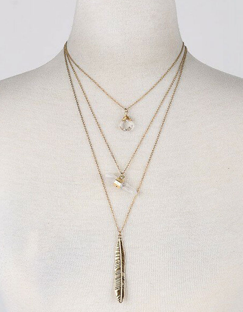 Vintage Snoot Gold Feather Necklace