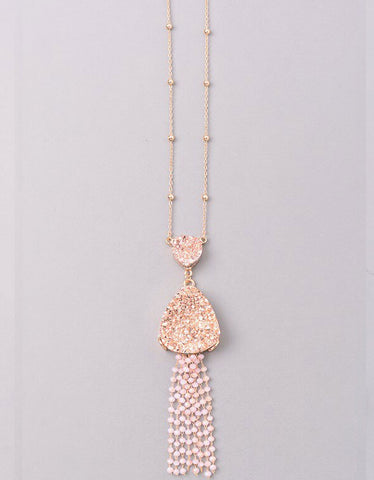 Vintage Snoot Cross Necklace in RoseGold/Ivory