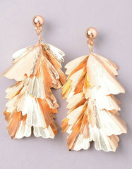 Musa Palm Statement Earrings in Gold