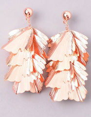Musa Palm Statement Earrings in Rose Gold