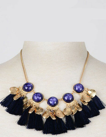 Selena Statement Iconic Necklace in Navy