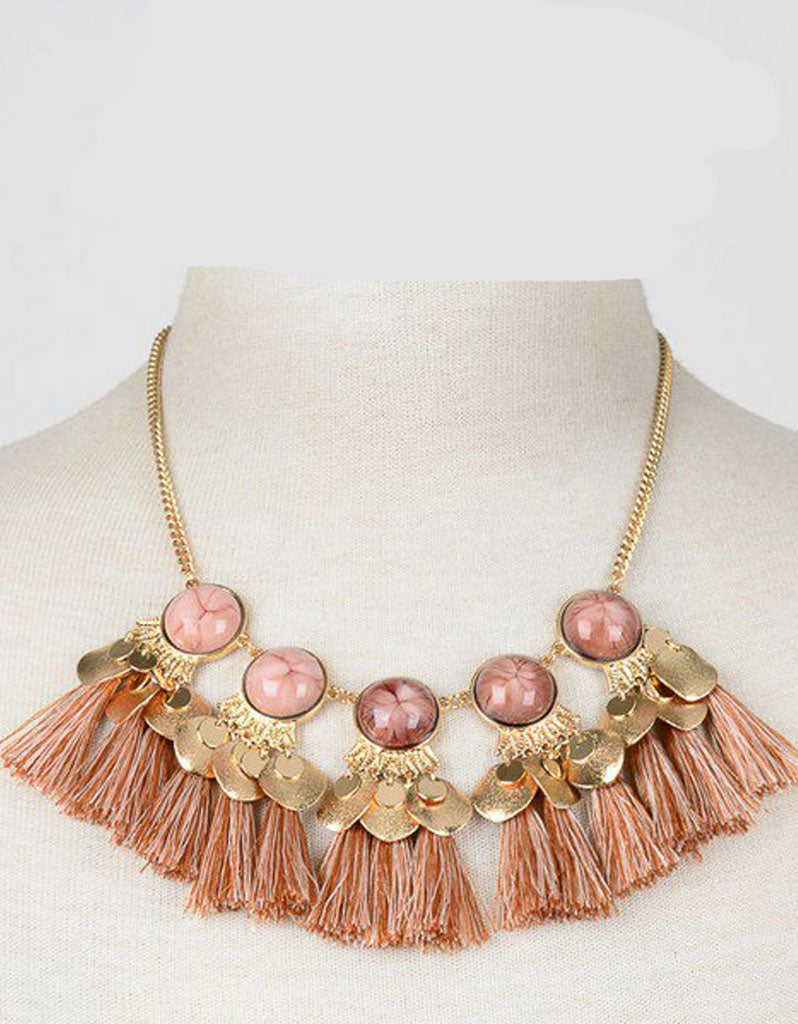 Selena Iconic Statement Necklace in Pink/Brown