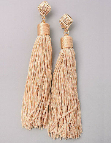 Unicorn Tears Fringe Tassel Earrings in Beige