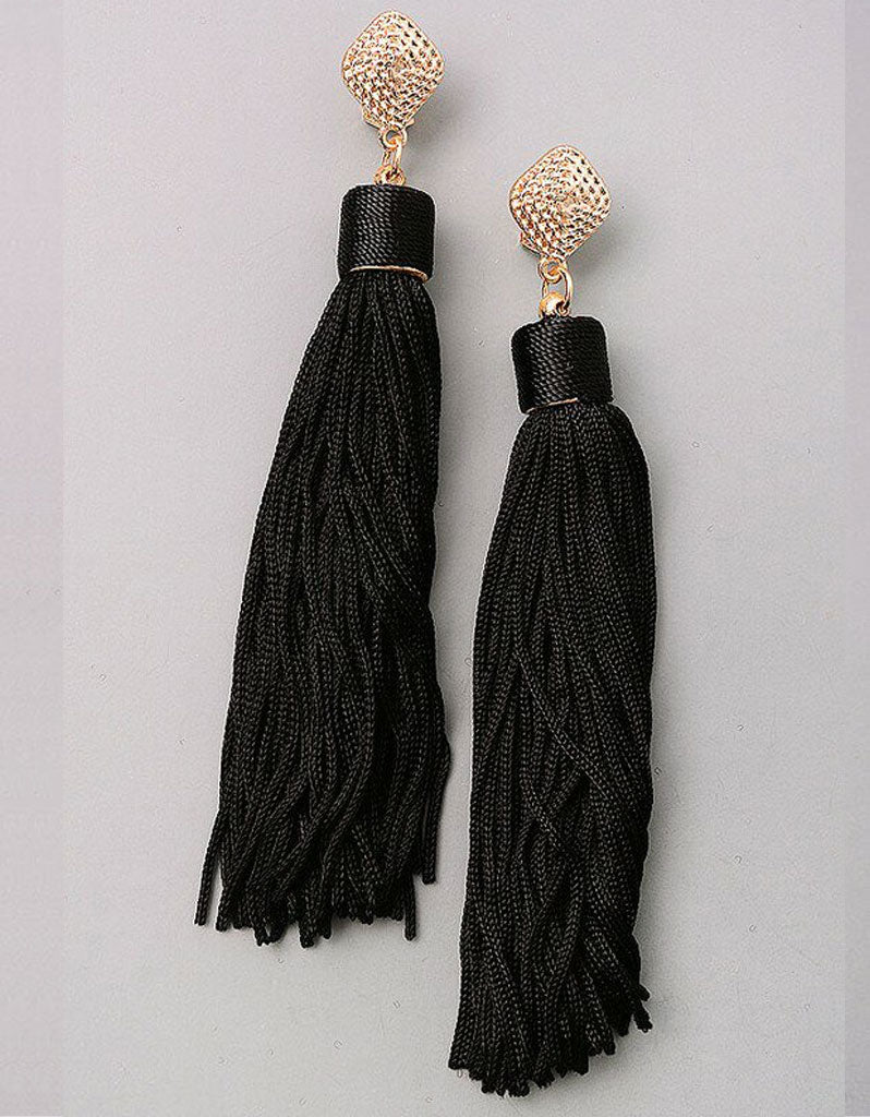 Unicorn Tears Fringe Tassel Earrings in Black
