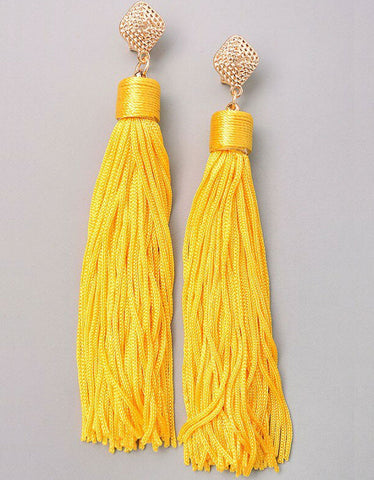Vintage Snoot Stone Tassle Earrings in Orange/Blue