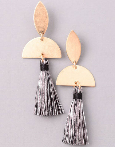 Vintage Snoot Dual Tassel Earrings in Olive