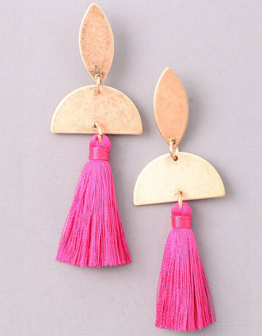 Tonal Tassel Earrings in Fuchsia