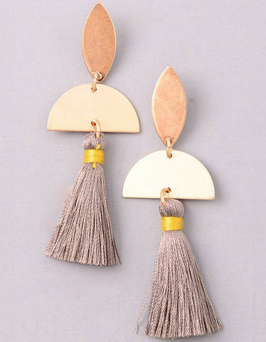 Tonal Tassel Earrings in Grey