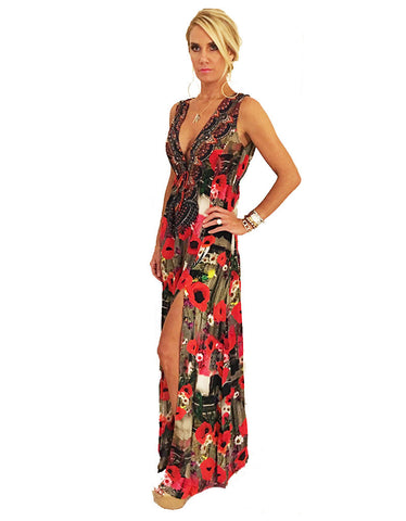 Parides V-Neck Embellished Dress in Melange Poppy