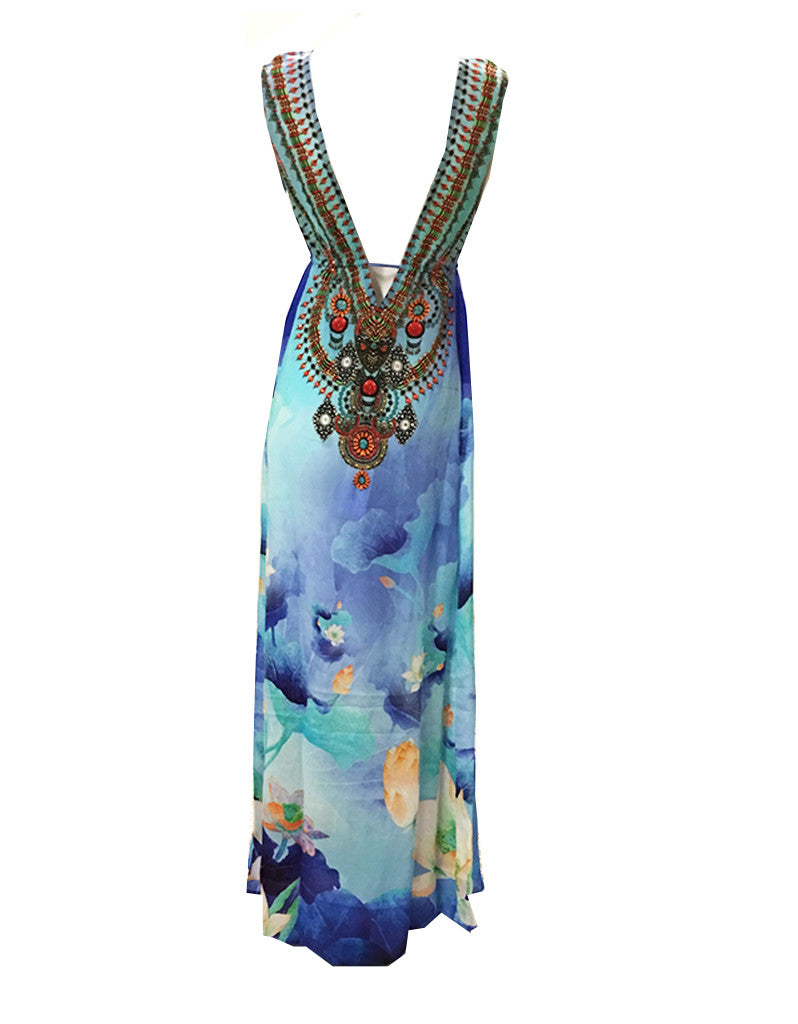 Shahida Parides V-Neck Embellished Long Dress in Azure - SWANK - Dresses - 1