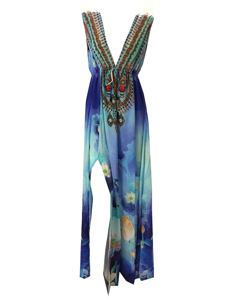Shahida Parides V-Neck Embellished Long Dress in Azure - SWANK - Dresses - 2