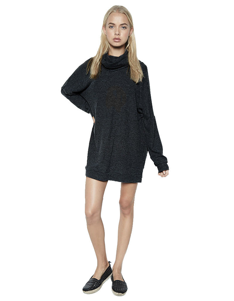 Michael Lauren Vargus L/S Draped Turtleneck Dress in Jet Black - SWANK - Dresses - 1