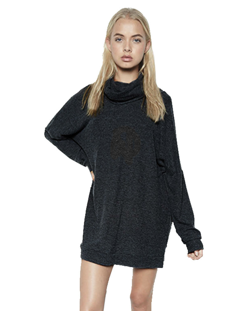 Michael Lauren Vargus L/S Draped Turtleneck Dress in Jet Black - SWANK - Dresses - 2