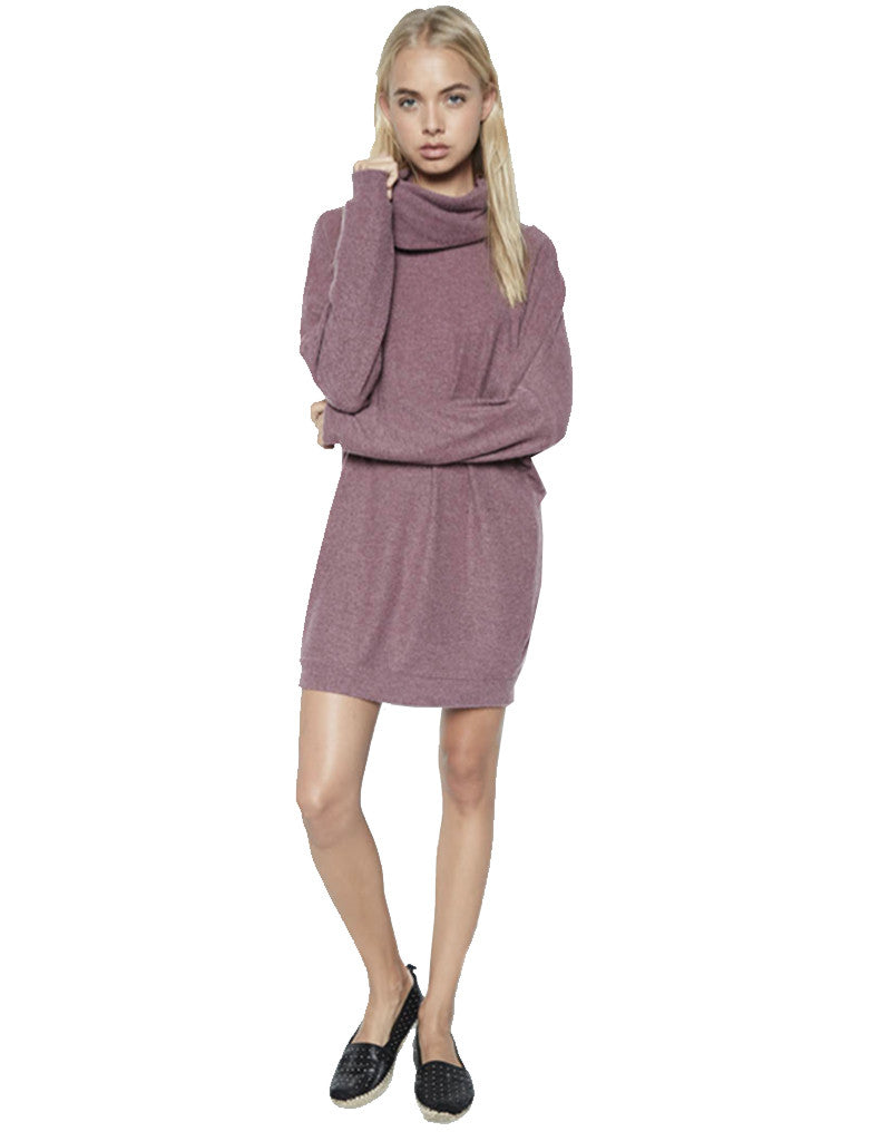 Michael Lauren Vargus L/S Draped Turtleneck Dress in Sangria - SWANK - Dresses - 1