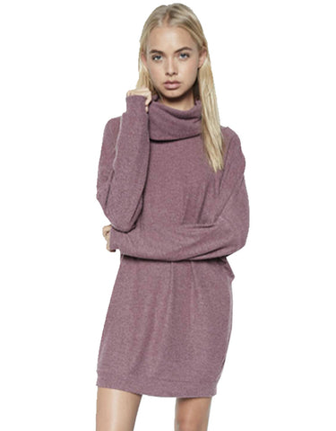 Michael Lauren Vargus L/S Draped Turtleneck Dress in Sangria