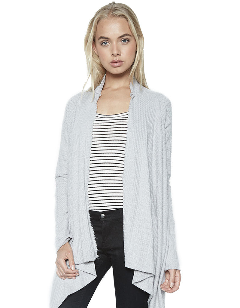 Michael Lauren Vasco Wrap Cardigan in Heather Grey Waffle - SWANK - Tops - 1