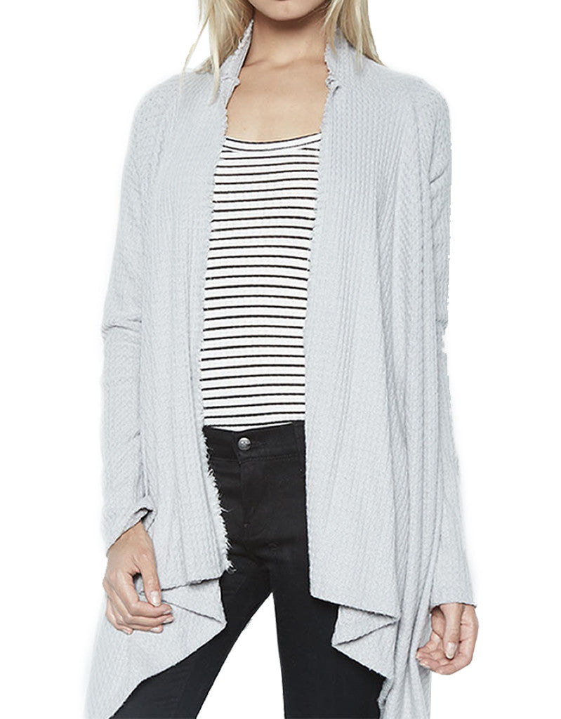 Michael Lauren Vasco Wrap Cardigan in Heather Grey Waffle - SWANK - Tops - 2