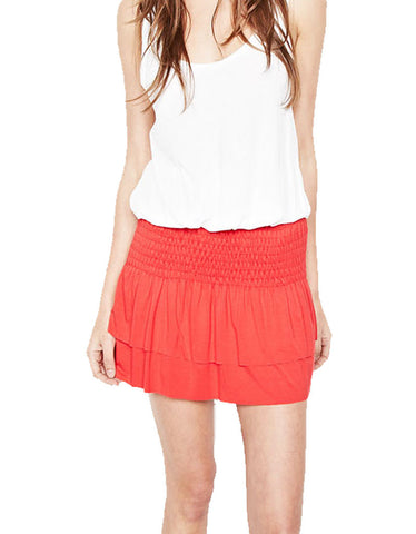 Michael Lauren Vice Mini Skirt w/Smocking in Gypsy Red