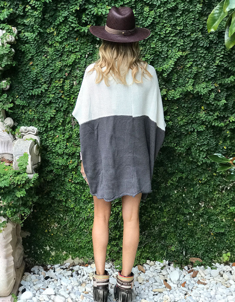 Bi-Polar Color Block Cocoon Cape Cardigan