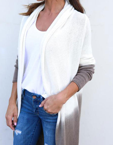 Game Changer Ombre Cocoon Cardigan in White/Taupe
