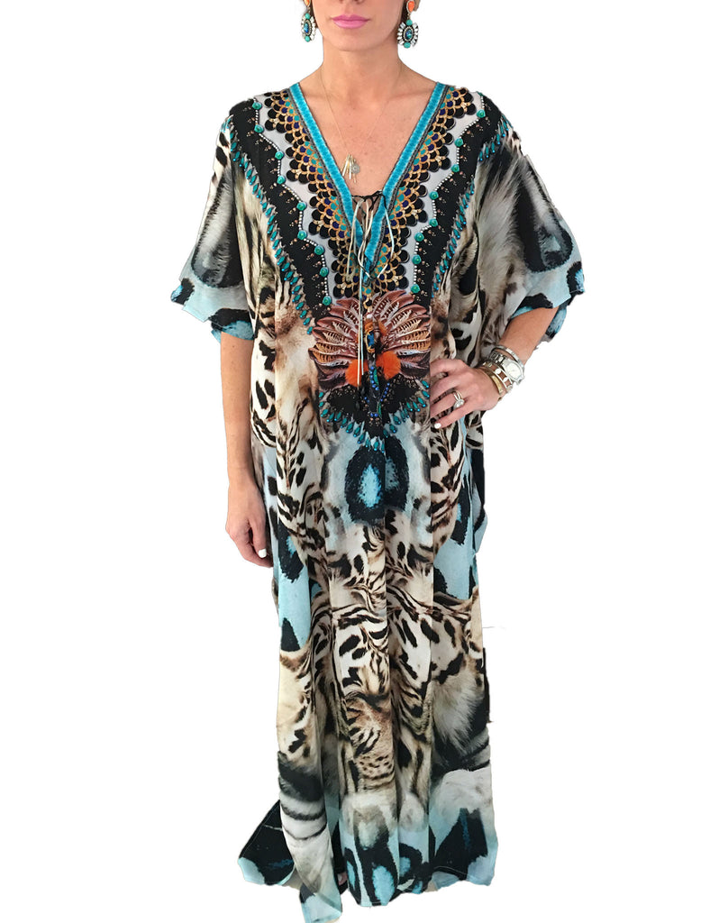 Shahida Parides Long Lace Up Kaftan Dress in White Tiger - SWANK - Dresses - 1