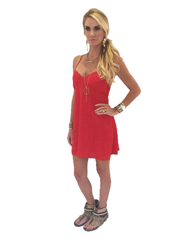 Show Me Your Mumu Winona Strappy Dress in Bonfire Crisp
