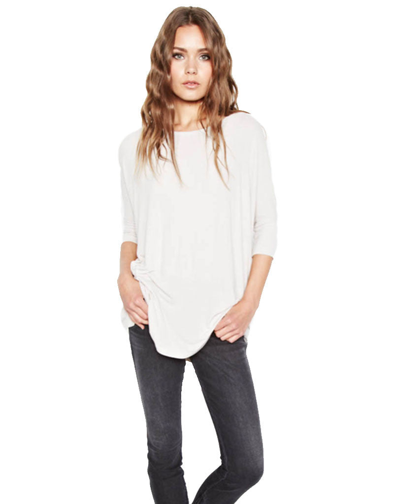 Michael Lauren York Scoop Neck Draped Tee - SWANK - Tops - 1