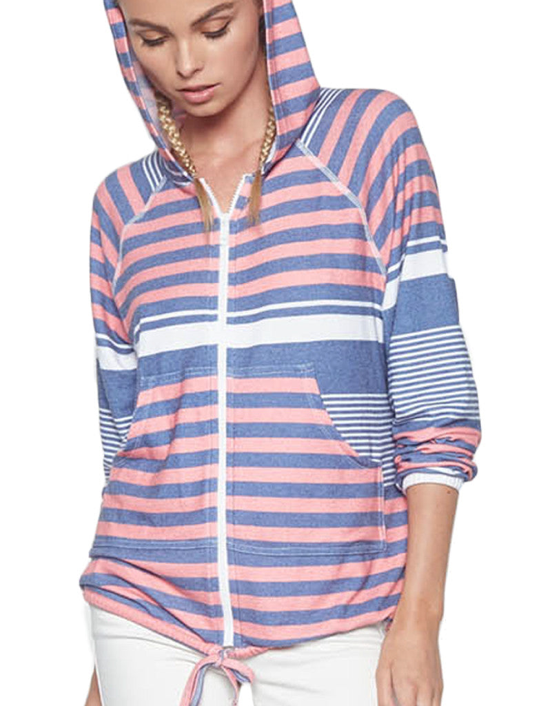 Michael Lauren Zayne Zip Up Hoodie in Waypoint Stripe