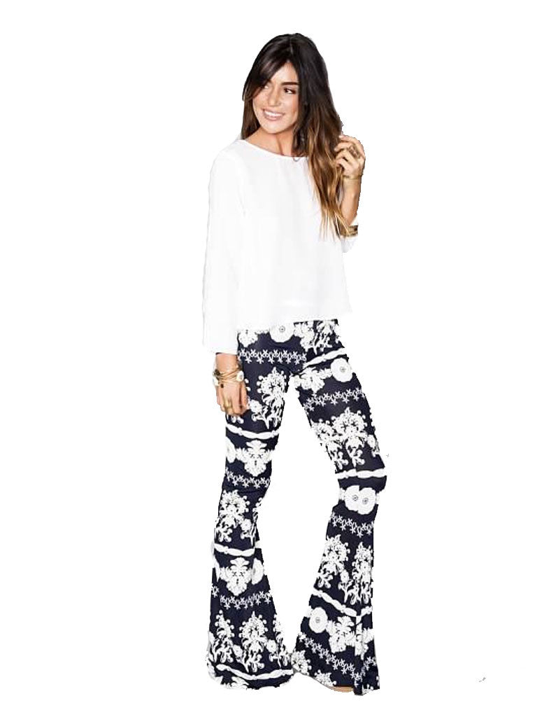 Show Me Your Mumu Bam Bam Bells in Fine China Spandy - SWANK - Pants - 1