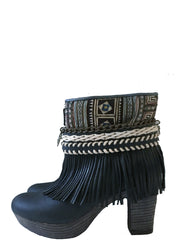Boho Custom Made High Heel Boots - Black - Size 38