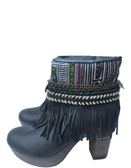 Boho Custom Made High Heel Boots - Black - Size 41