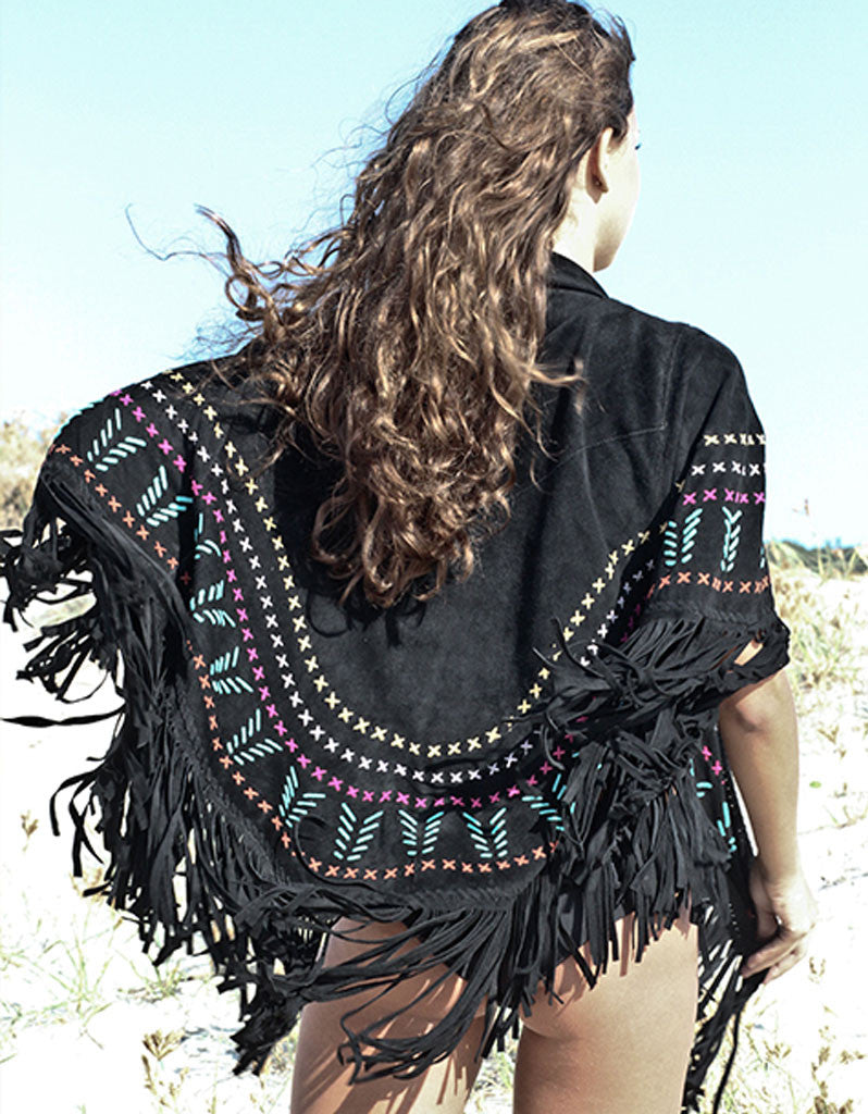 Earth Angel Jacket with Fringe in Black w/ Multicolor Stitching - SWANK - Jackets - 5