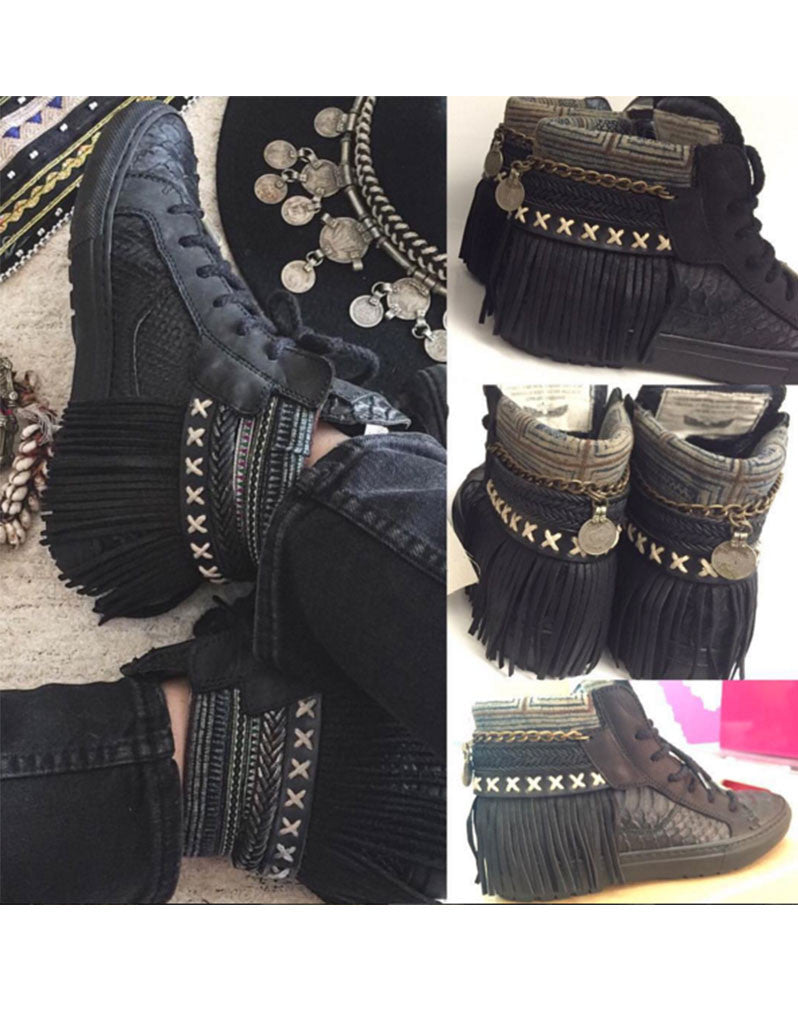 Boho Sneakers with Fringe in Black Snake - SWANK - Shoes - 4