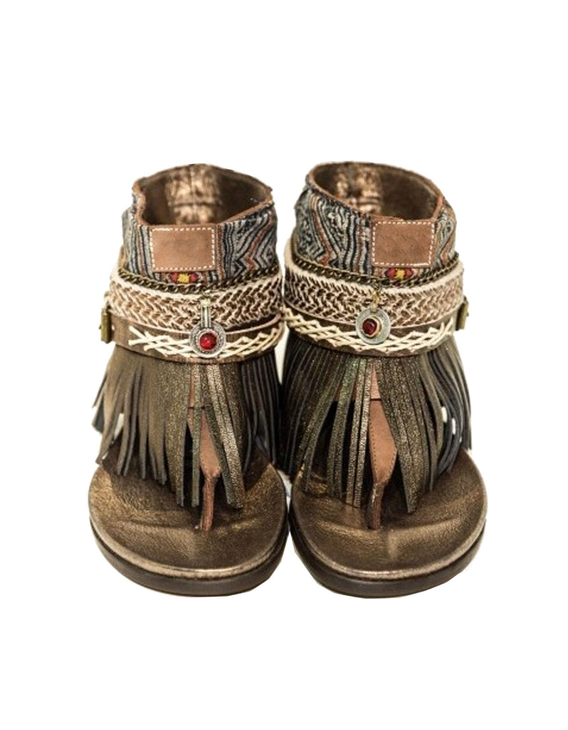 "BOHO SANDALS- ""Custom made brown fringe sandals"" - SWANK - Shoes - 1"