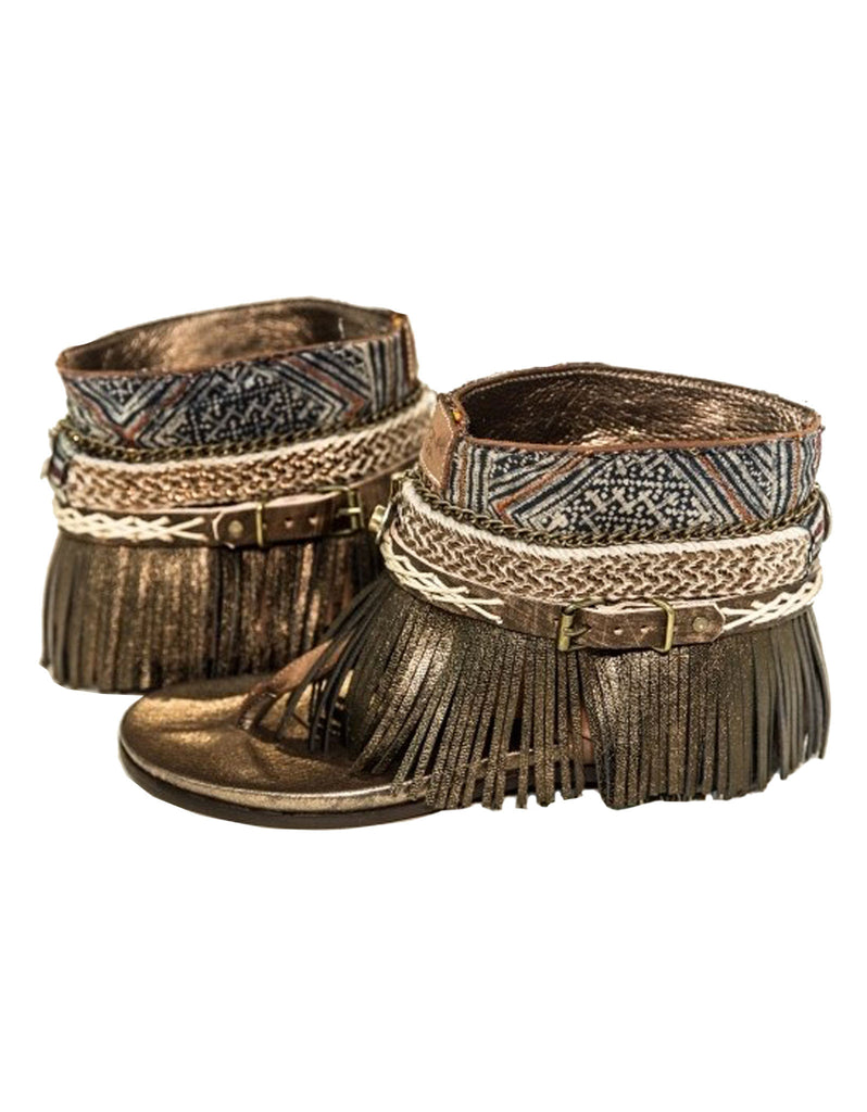 "BOHO SANDALS- ""Custom made brown fringe sandals"" - SWANK - Shoes - 2"