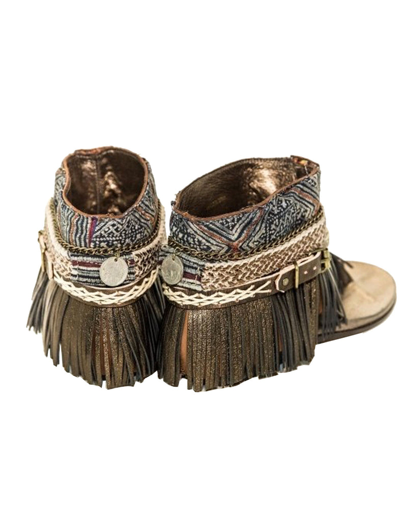 "BOHO SANDALS- ""Custom made brown fringe sandals"" - SWANK - Shoes - 3"