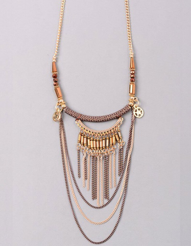 Luxe Military Short Necklace in Brown