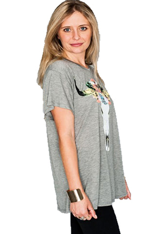 Show Me Your Mumu Oliver Tee Bull Head in Light Grey