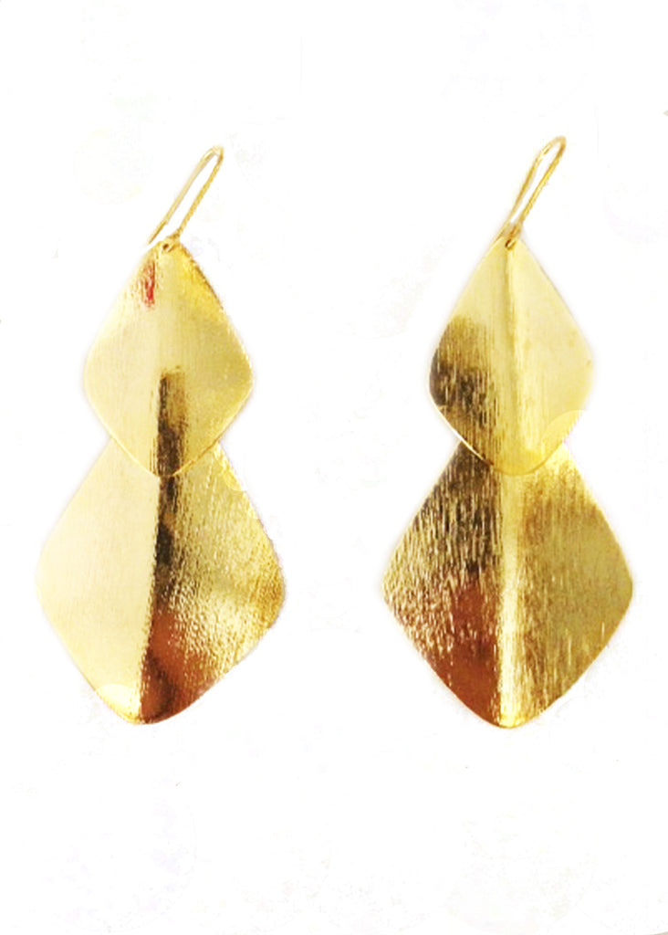 Double Bent Leaf Chandelier Earrings in Gold - SWANK - Accessories - 2