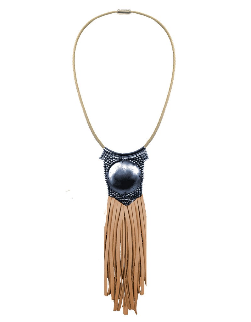 Fiona Paxton Light Beaded Statement Pendant Necklace w/ Leather Fringe - SWANK - Jewelry - 1