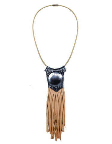 Fiona Paxton Light Beaded Statement Pendant Necklace w/ Leather Fringe