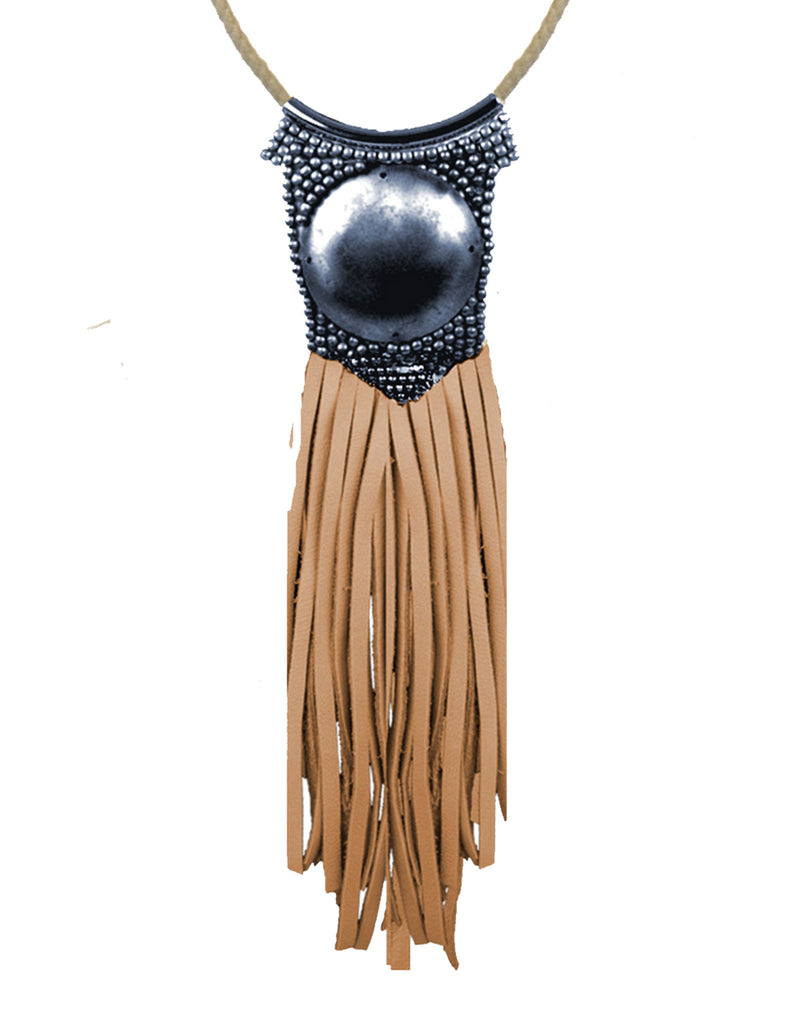Fiona Paxton Light Beaded Statement Pendant Necklace w/ Leather Fringe - SWANK - Jewelry - 2