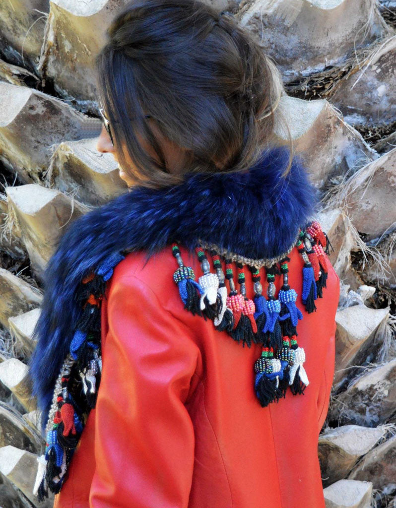 Fur Collar w/Tassels in Blue - SWANK - Outerwear - 1