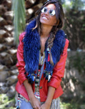 Fur Collar w/Tassels in Blue - SWANK - Outerwear - 2