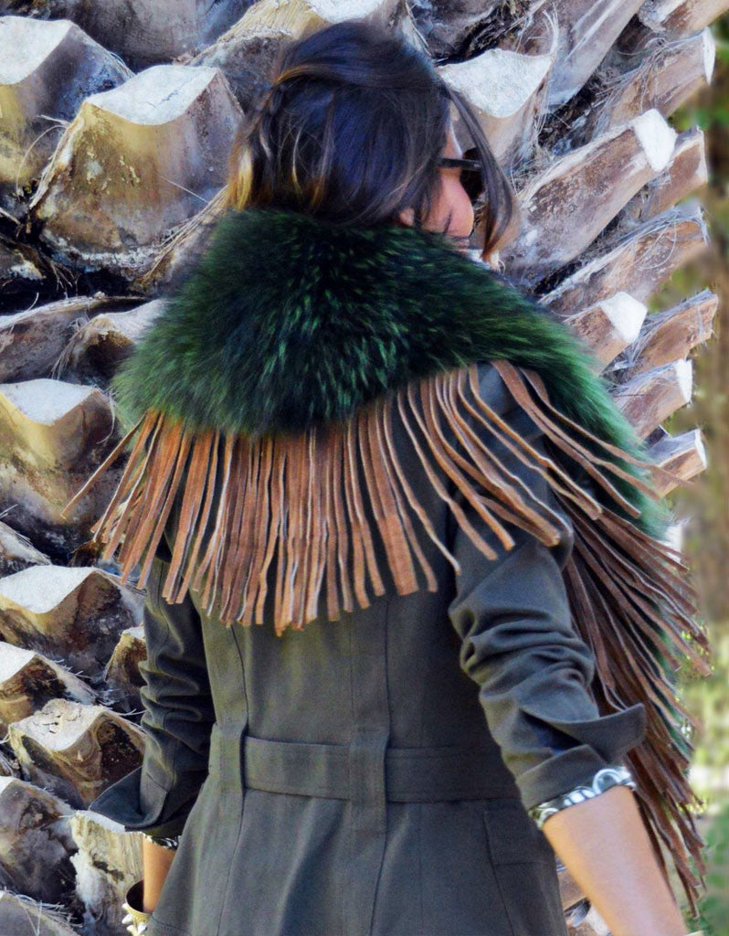 Fur Collar w/Fringe in Green - SWANK - Outerwear - 2