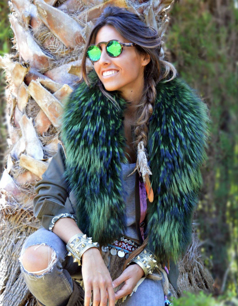 Fur Collar w/Fringe in Green - SWANK - Outerwear - 1