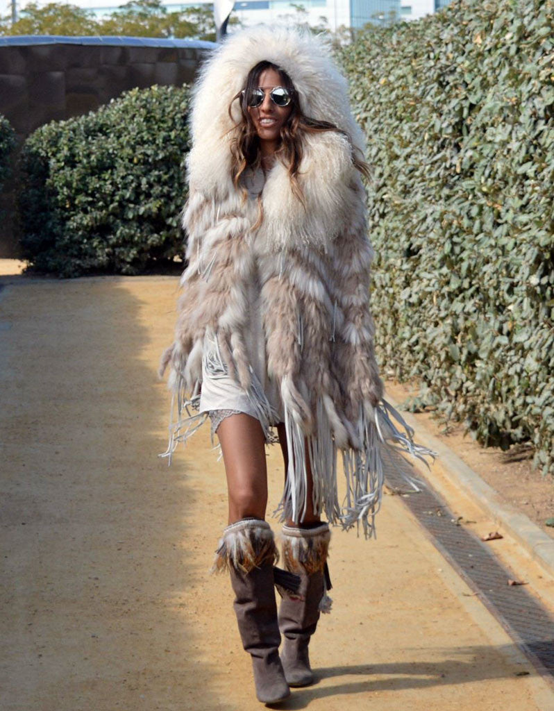 """The Emily"" Cream Fringe and Fur Hooded Poncho - SWANK - Outerwear - 1"