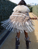"""The Emily"" Cream Fringe and Fur Hooded Poncho - SWANK - Outerwear - 2"